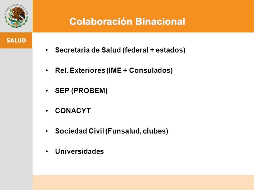 Colaboración Binacional Secretaria de Salud (federal + estados) Rel.