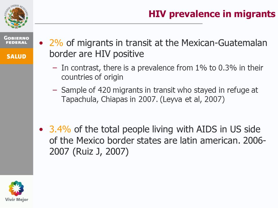 HIV prevalence in migrants 2% of migrants in transit at the Mexican-Guatemalan border are HIV positive –In contrast, there is a prevalence from 1% to 0.3% in their countries of origin –Sample of 420 migrants in transit who stayed in refuge at Tapachula, Chiapas in 2007.