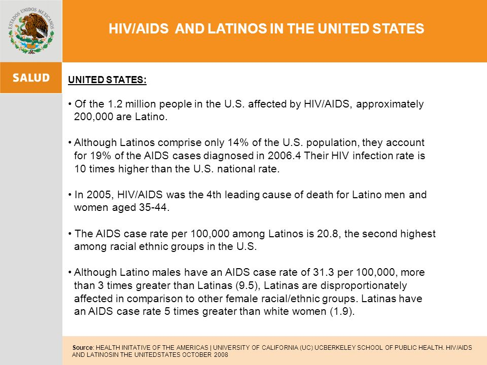 HIV/AIDS AND LATINOS IN THE UNITED STATES Source: HEALTH INITATIVE OF THE AMERICAS | UNIVERSITY OF CALIFORNIA (UC) UCBERKELEY SCHOOL OF PUBLIC HEALTH.