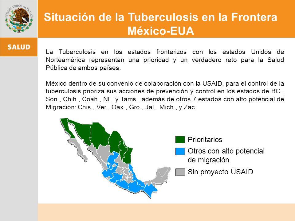 La Tuberculosis en los estados fronterizos con los estados Unidos de Norteamérica representan una prioridad y un verdadero reto para la Salud Pública de ambos países.