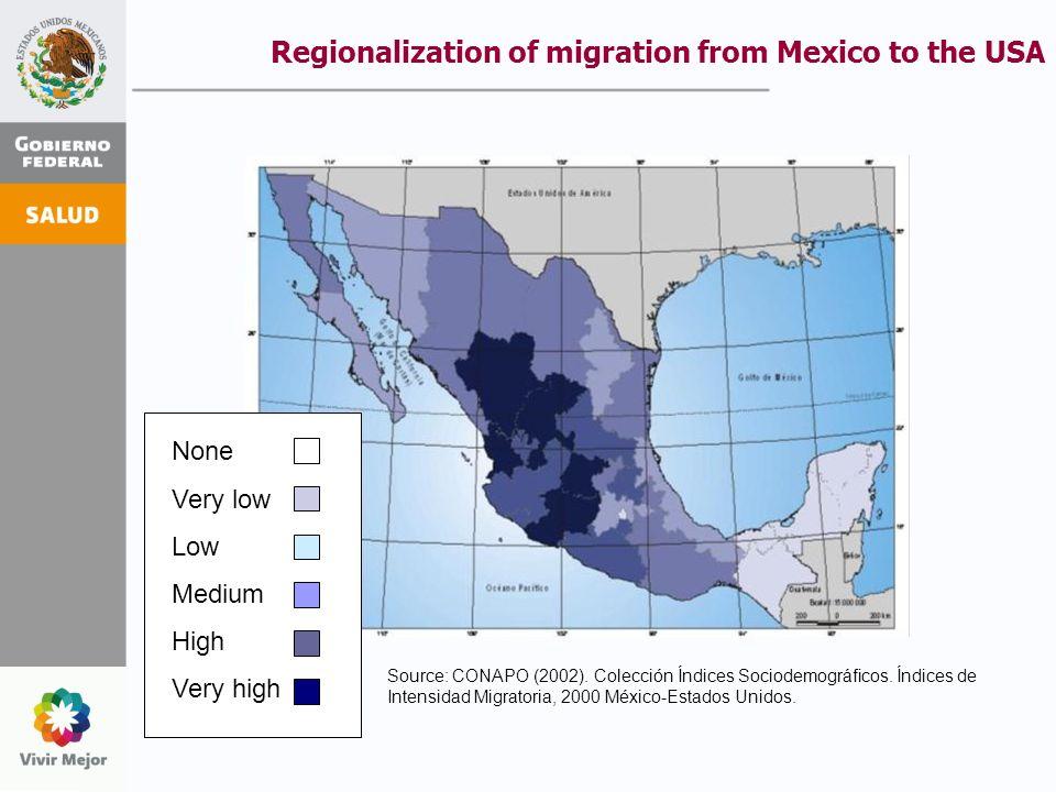 El índice de intensidad migratoria (IIM) municipal, construido por CONAPO en 2003, indica que el 96% de los 2,443 municipios del país experimentan algún grado de vinculación con el proceso migratorio: expulsión-recepción de población migrante y/o recepción de remesas.