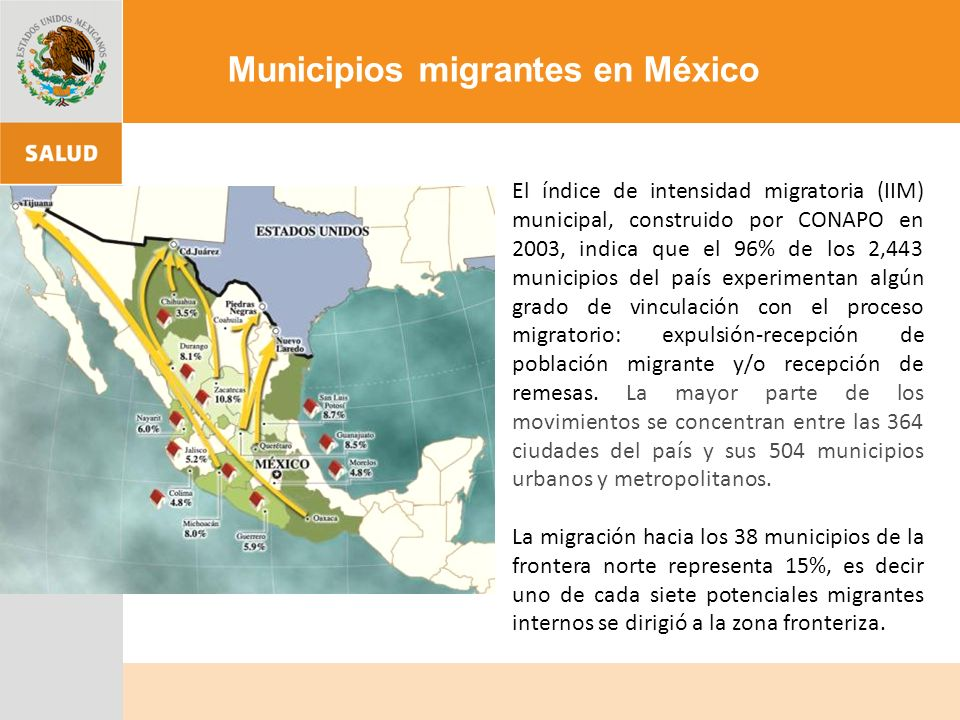 Región Tradicional Migratoria: Aguascalientes, Colima, Durango, Guanajuato, Jalisco, Michoacán, Nayarit, San Luís Potosí y Zacatecas.
