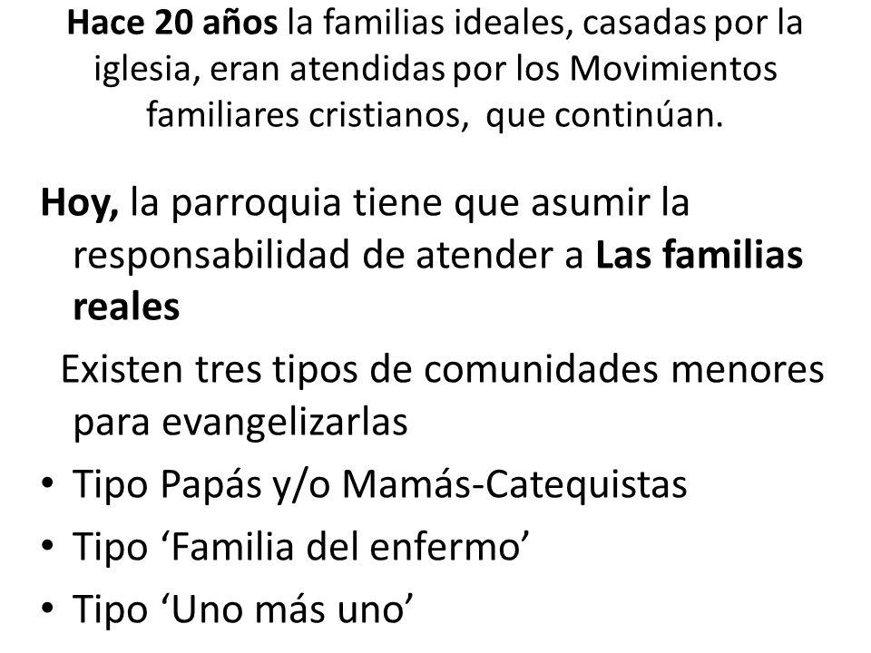 Hace 20 años la familias ideales, casadas por la iglesia, eran atendidas por los Movimientos familiares cristianos, que continúan.