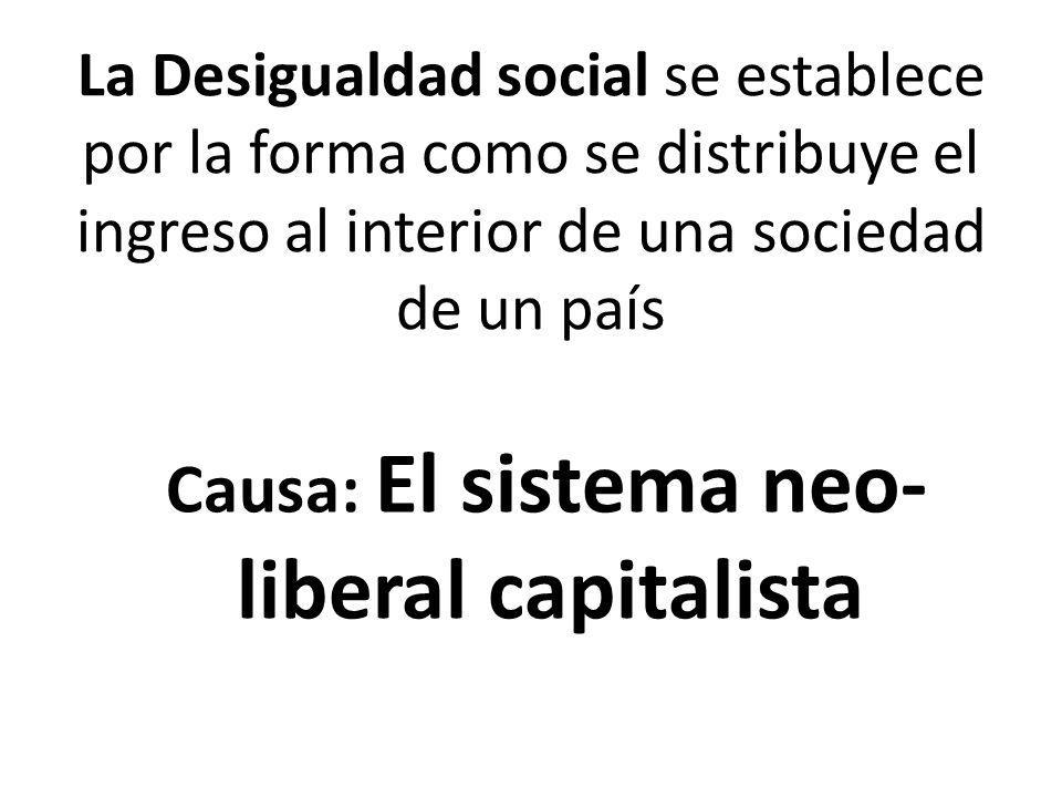 La Desigualdad social se establece por la forma como se distribuye el ingreso al interior de una sociedad de un país Causa: El sistema neo- liberal capitalista