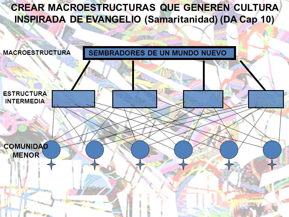 CREAR MACROESTRUCTURAS QUE GENEREN CULTURA INSPIRADA DE EVANGELIO (Samaritanidad) (DA Cap 10) SEMBRADORES DE UN MUNDO NUEVO COMUNIDAD MENOR ESTRUCTURA INTERMEDIA MACROESTRUCTURA
