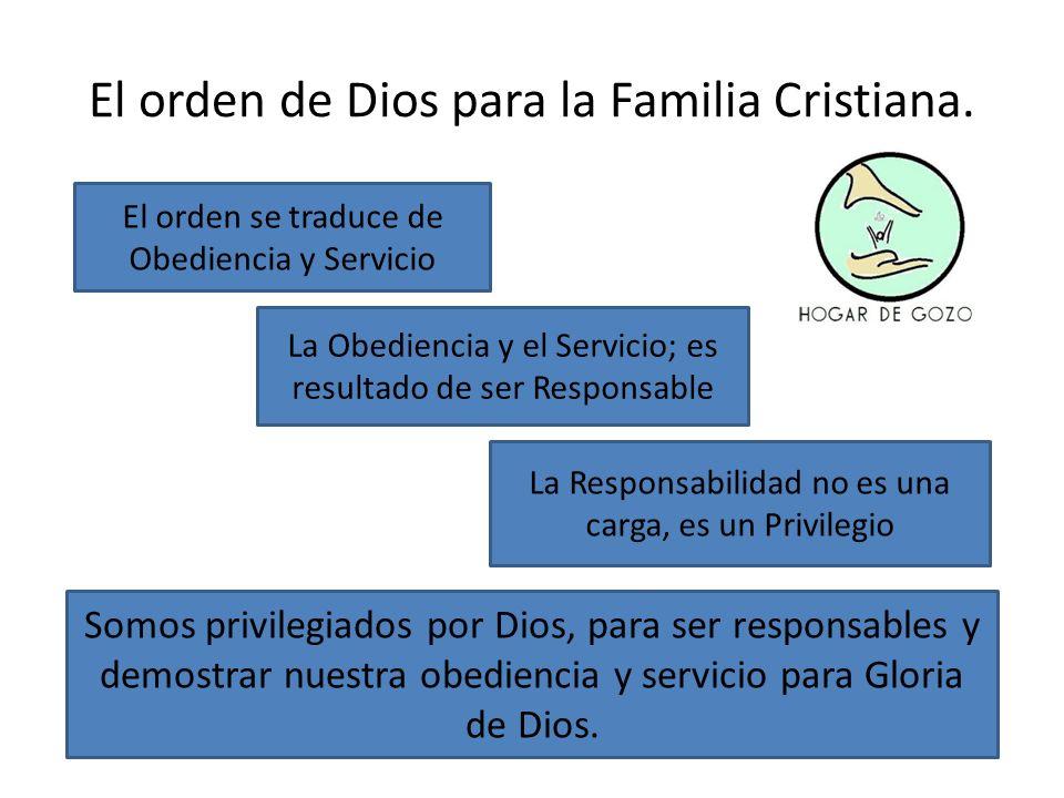 El orden de Dios para la Familia Cristiana. El orden se traduce de Obediencia y Servicio La Obediencia y el Servicio; es resultado de ser Responsable