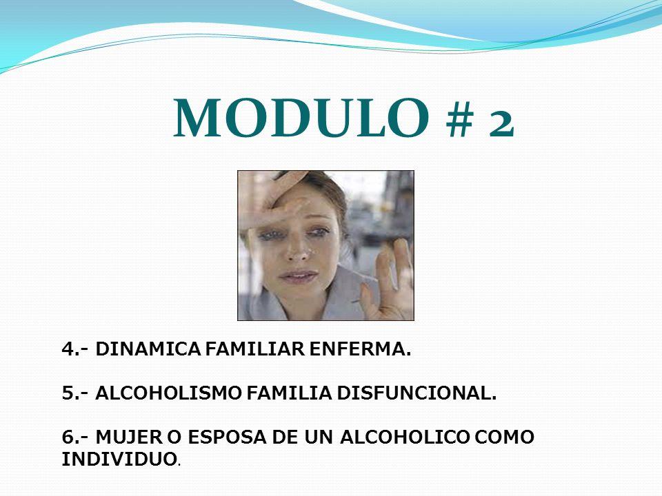 MODULO # 2 4.- DINAMICA FAMILIAR ENFERMA. 5.- ALCOHOLISMO FAMILIA DISFUNCIONAL. 6.- MUJER O ESPOSA DE UN ALCOHOLICO COMO INDIVIDUO.