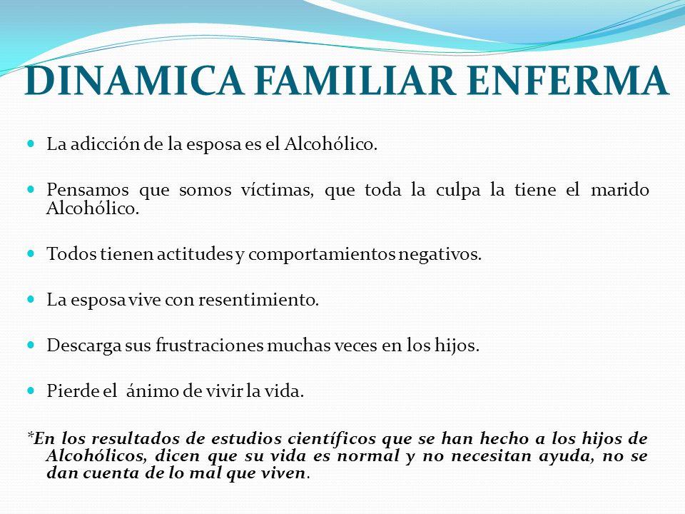 DINAMICA FAMILIAR ENFERMA La adicción de la esposa es el Alcohólico. Pensamos que somos víctimas, que toda la culpa la tiene el marido Alcohólico. Tod