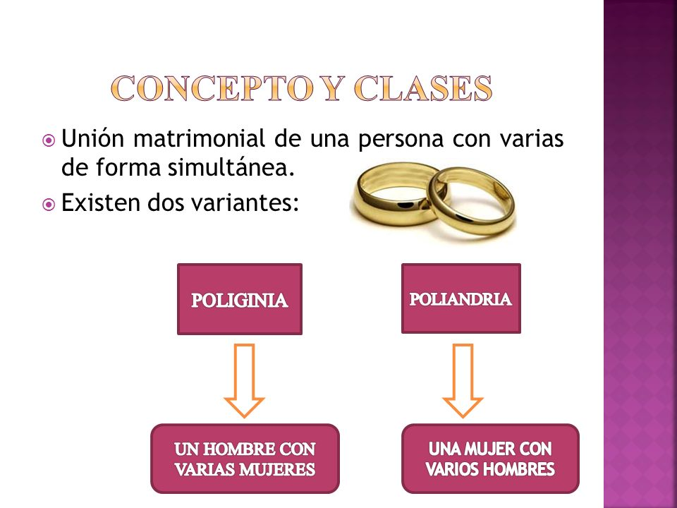 Unión matrimonial de una persona con varias de forma simultánea. Existen dos variantes: