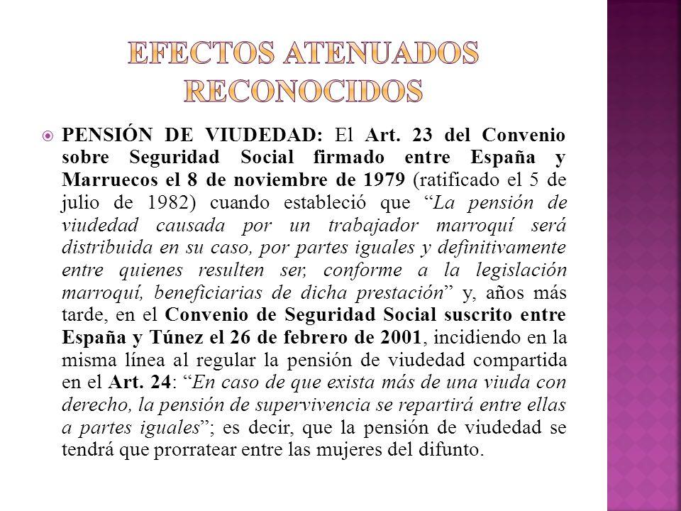 PENSIÓN DE VIUDEDAD: El Art. 23 del Convenio sobre Seguridad Social firmado entre España y Marruecos el 8 de noviembre de 1979 (ratificado el 5 de jul
