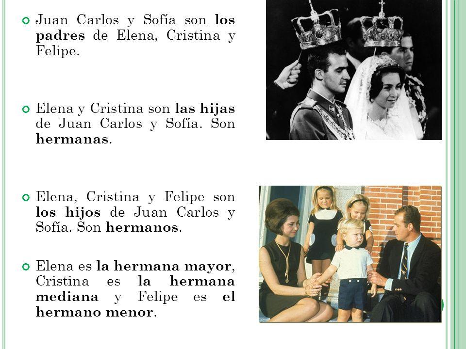 Juan Carlos y Sofía son los padres de Elena, Cristina y Felipe. Elena y Cristina son las hijas de Juan Carlos y Sofía. Son hermanas. Elena, Cristina y