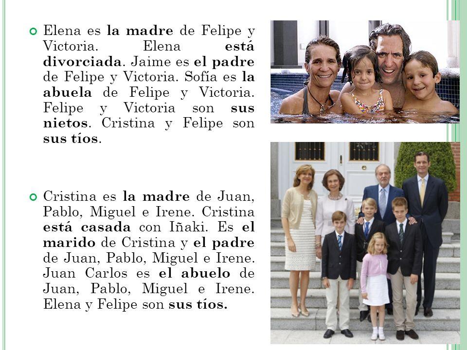 Elena es la madre de Felipe y Victoria. Elena está divorciada. Jaime es el padre de Felipe y Victoria. Sofía es la abuela de Felipe y Victoria. Felipe