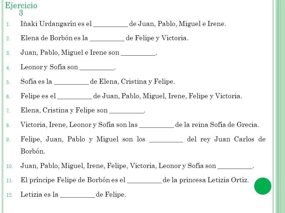 1. Iñaki Urdangarín es el __________ de Juan, Pablo, Miguel e Irene. 2. Elena de Borbón es la __________ de Felipe y Victoria. 3. Juan, Pablo, Miguel