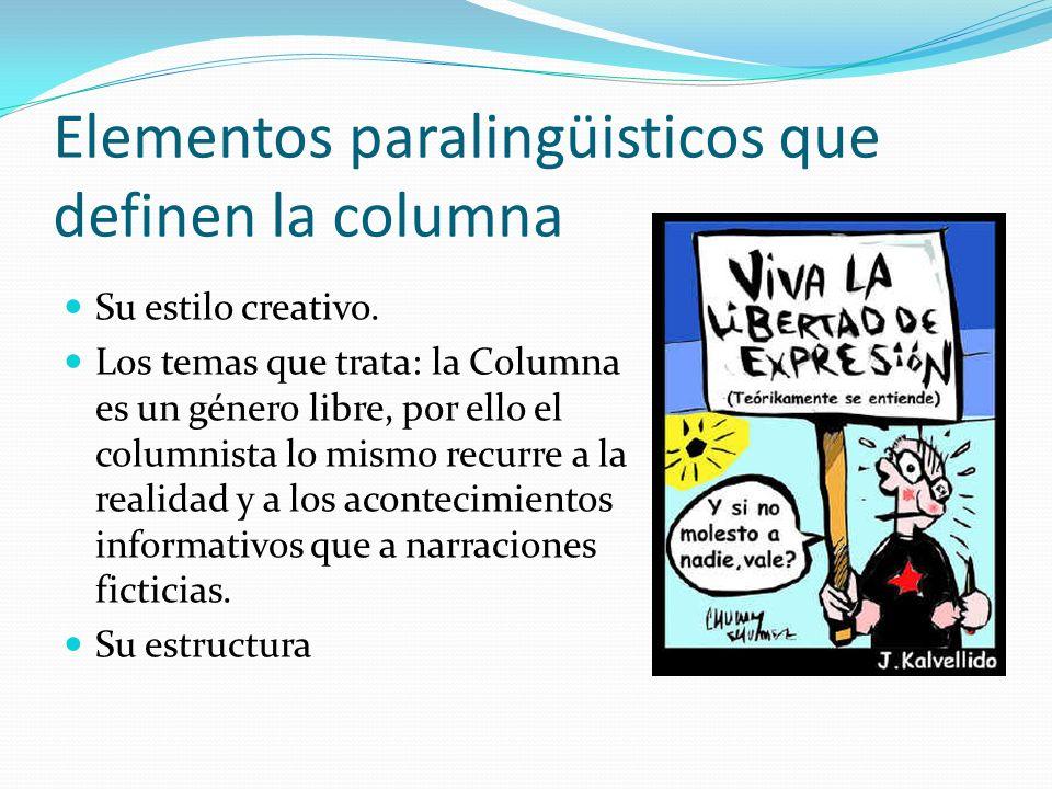 Elementos paralingüisticos que definen la columna Su estilo creativo.