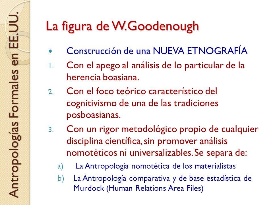 La figura de W.Goodenough Construcción de una NUEVA ETNOGRAFÍA 1. Con el apego al análisis de lo particular de la herencia boasiana. 2. Con el foco te
