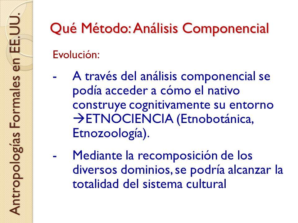 Qué Método: Análisis Componencial Evolución: -A través del análisis componencial se podía acceder a cómo el nativo construye cognitivamente su entorno