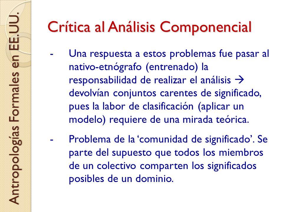 Crítica al Análisis Componencial -Una respuesta a estos problemas fue pasar al nativo-etnógrafo (entrenado) la responsabilidad de realizar el análisis