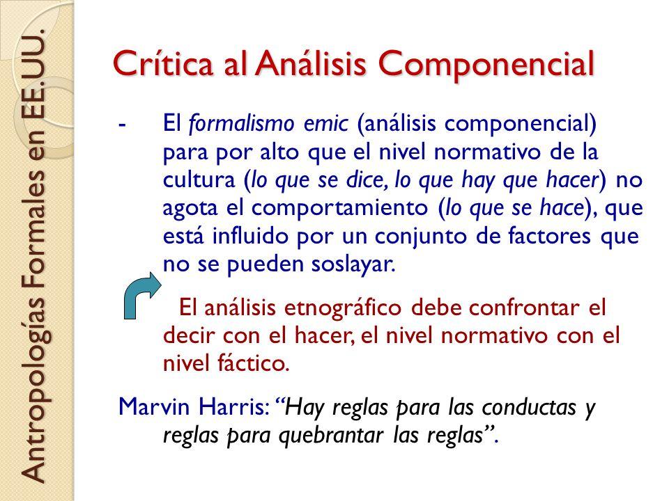 Crítica al Análisis Componencial -El formalismo emic (análisis componencial) para por alto que el nivel normativo de la cultura (lo que se dice, lo qu
