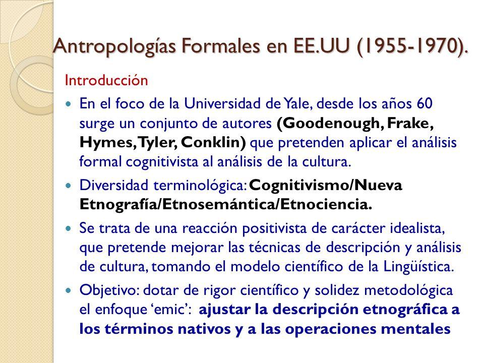 Antropologías Formales en EE.UU (1955-1970). Introducción En el foco de la Universidad de Yale, desde los años 60 surge un conjunto de autores (Gooden