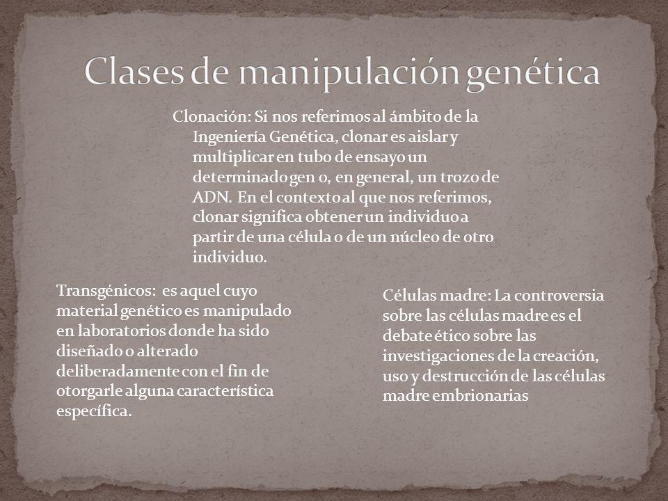 Clonación: Si nos referimos al ámbito de la Ingeniería Genética, clonar es aislar y multiplicar en tubo de ensayo un determinado gen o, en general, un