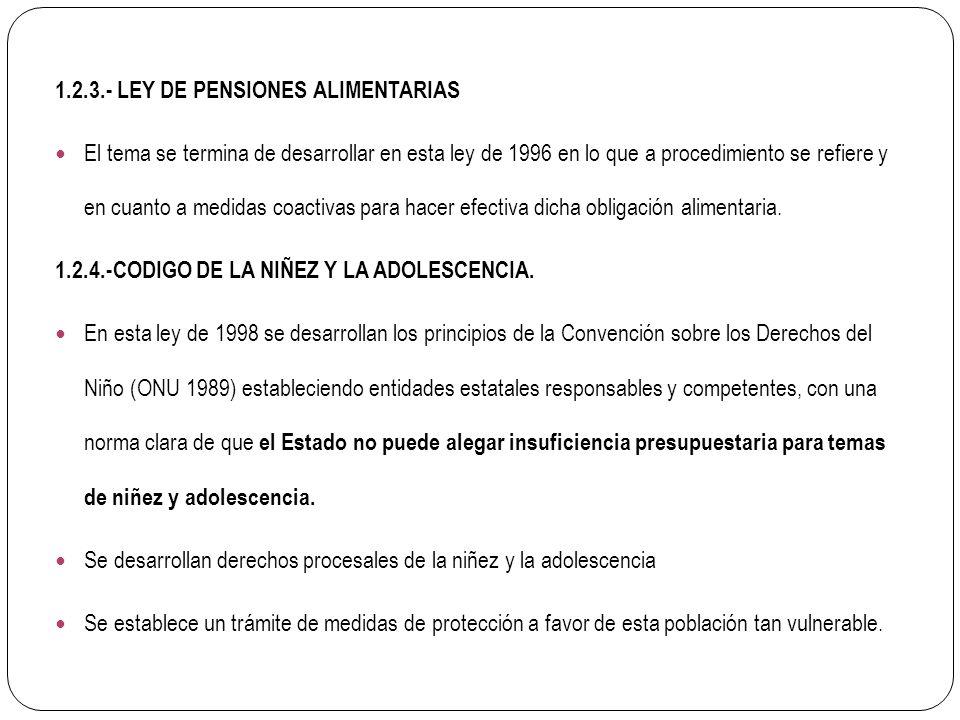 1.2.3.- LEY DE PENSIONES ALIMENTARIAS El tema se termina de desarrollar en esta ley de 1996 en lo que a procedimiento se refiere y en cuanto a medidas