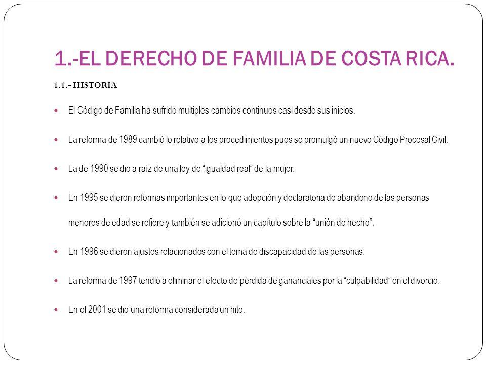 1.-EL DERECHO DE FAMILIA DE COSTA RICA. 1.1.- HISTORIA El Código de Familia ha sufrido multiples cambios continuos casi desde sus inicios. La reforma
