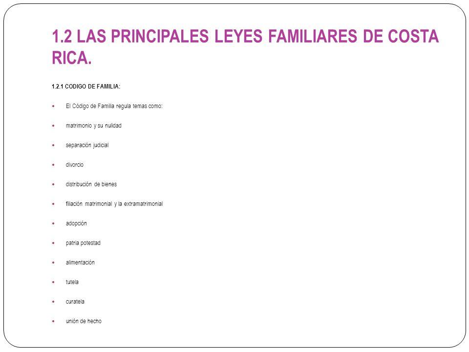 1.2 LAS PRINCIPALES LEYES FAMILIARES DE COSTA RICA. 1.2.1 CODIGO DE FAMILIA: El Código de Familia regula temas como: matrimonio y su nulidad separació
