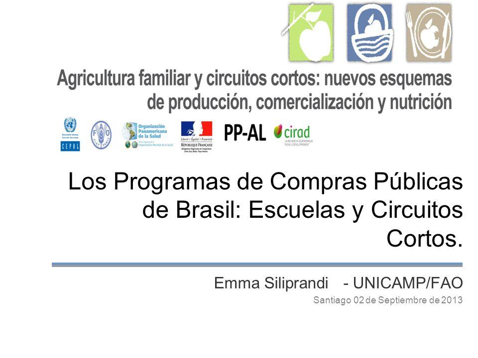 Los Programas de Compras Públicas de Brasil: Escuelas y Circuitos Cortos. Emma Siliprandi - UNICAMP/FAO Santiago 02 de Septiembre de 2013