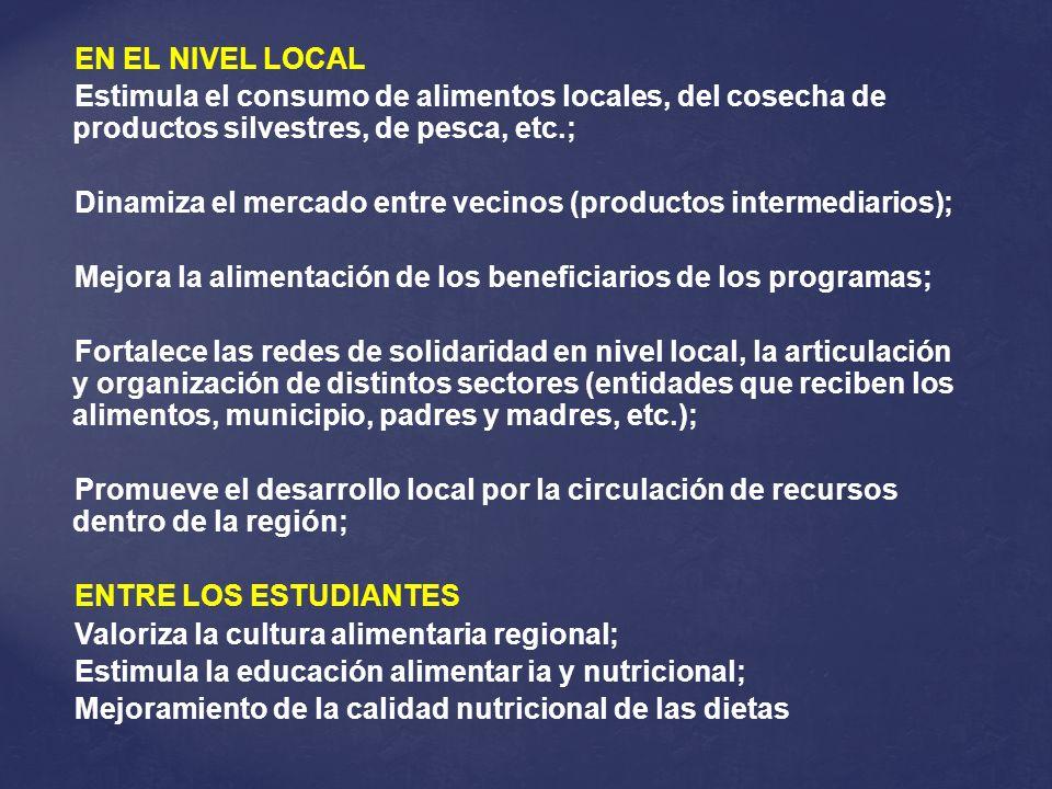 EN EL NIVEL LOCAL Estimula el consumo de alimentos locales, del cosecha de productos silvestres, de pesca, etc.; Dinamiza el mercado entre vecinos (pr