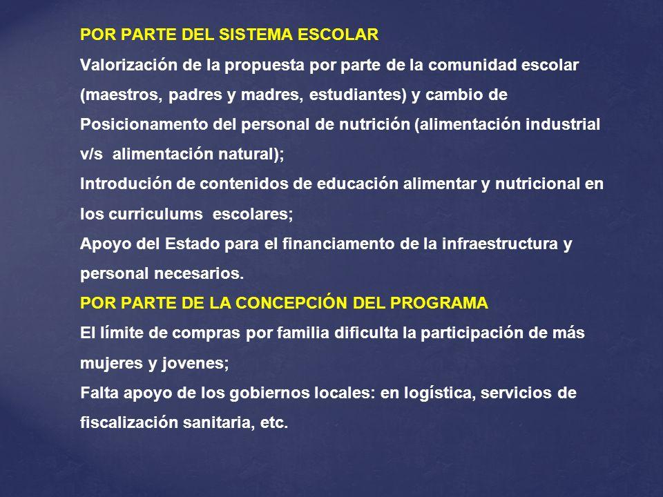 POR PARTE DEL SISTEMA ESCOLAR Valorización de la propuesta por parte de la comunidad escolar (maestros, padres y madres, estudiantes) y cambio de Posi