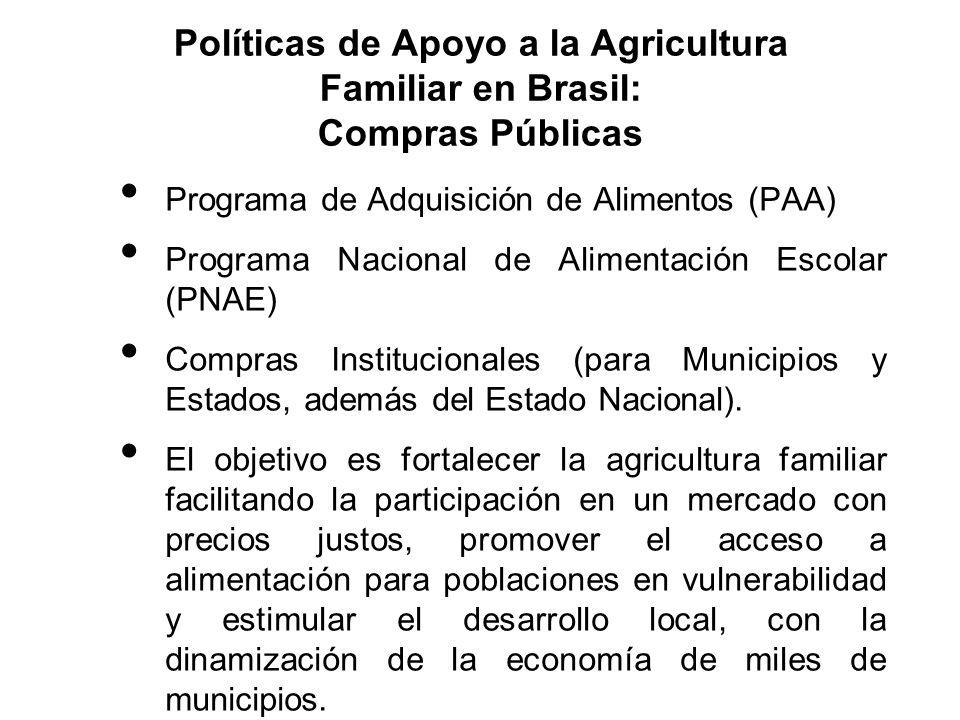 Programa de Adquisición de Alimentos (PAA) Programa Nacional de Alimentación Escolar (PNAE) Compras Institucionales (para Municipios y Estados, además
