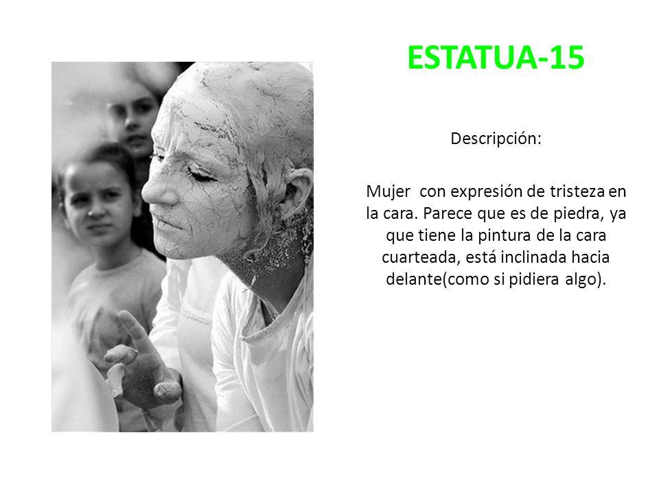 ESTATUA-15 Descripción: Mujer con expresión de tristeza en la cara. Parece que es de piedra, ya que tiene la pintura de la cara cuarteada, está inclin
