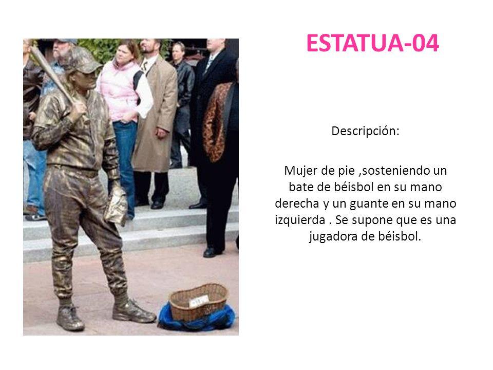 ESTATUA-04 Descripción: Mujer de pie,sosteniendo un bate de béisbol en su mano derecha y un guante en su mano izquierda. Se supone que es una jugadora