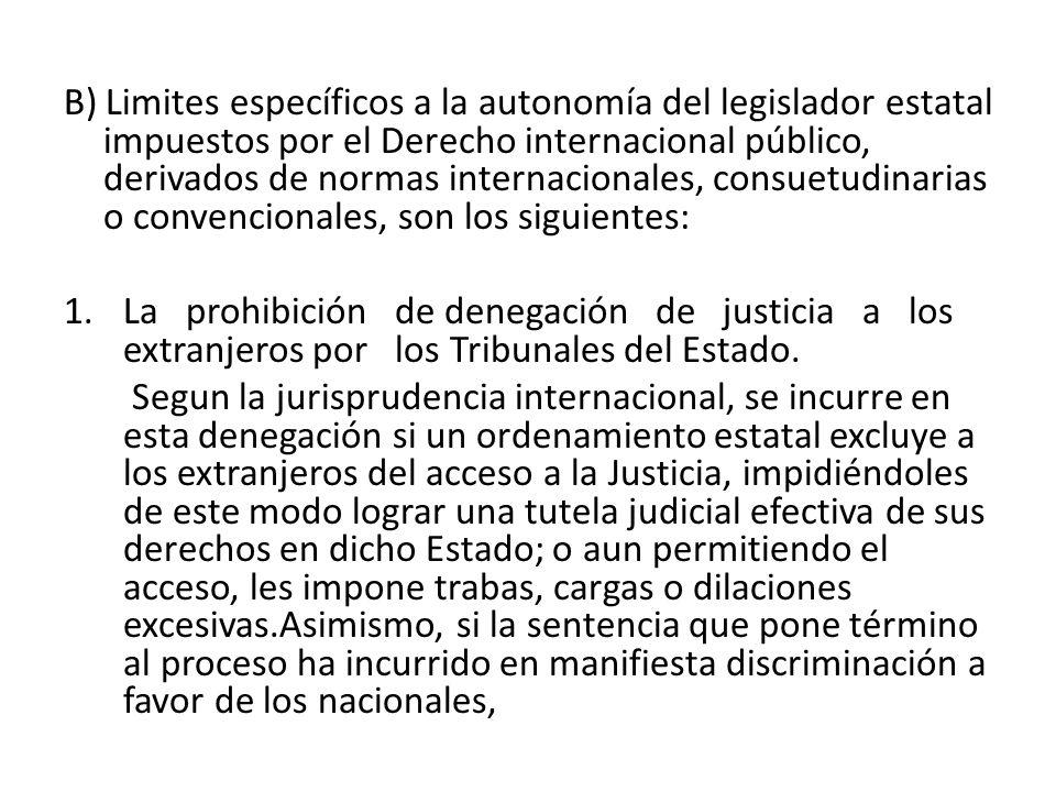 B) Limites específicos a la autonomía del legislador estatal impuestos por el Derecho internacional público, derivados de normas internacionales, cons