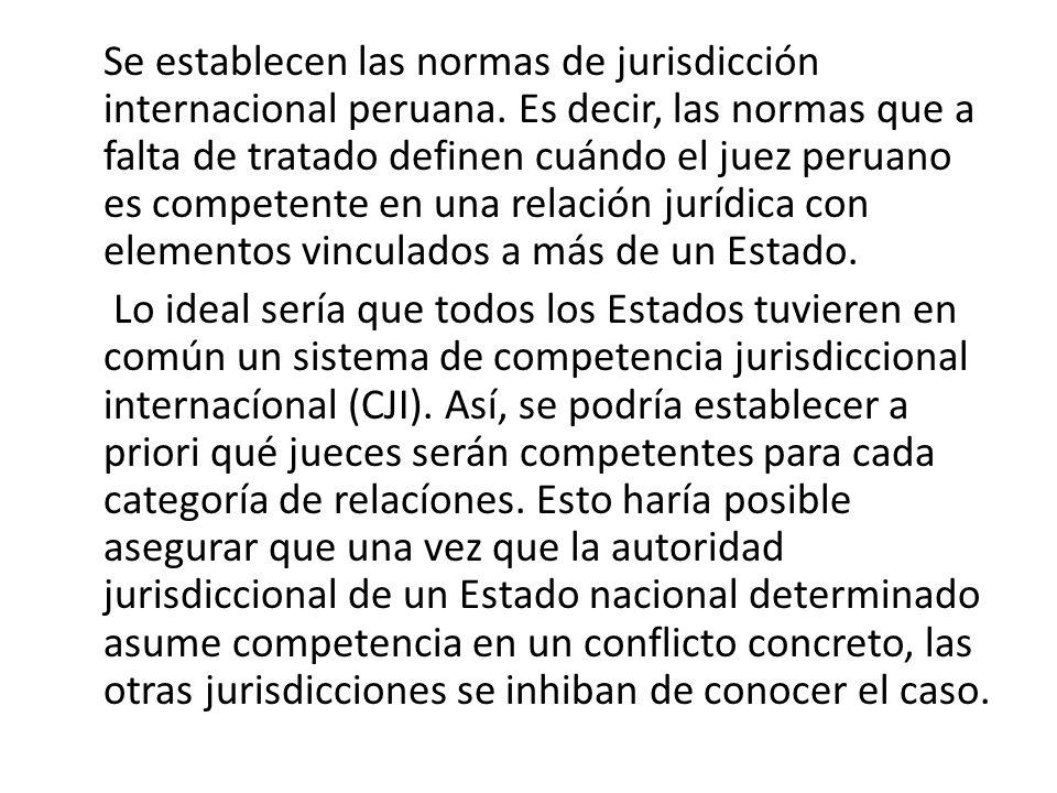 Se establecen las normas de jurisdicción internacional peruana. Es decir, las normas que a falta de tratado definen cuándo el juez peruano es competen