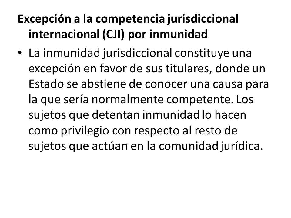 Excepción a la competencia jurisdiccional internacional (CJI) por inmunidad La inmunidad jurisdiccional constituye una excepción en favor de sus titul