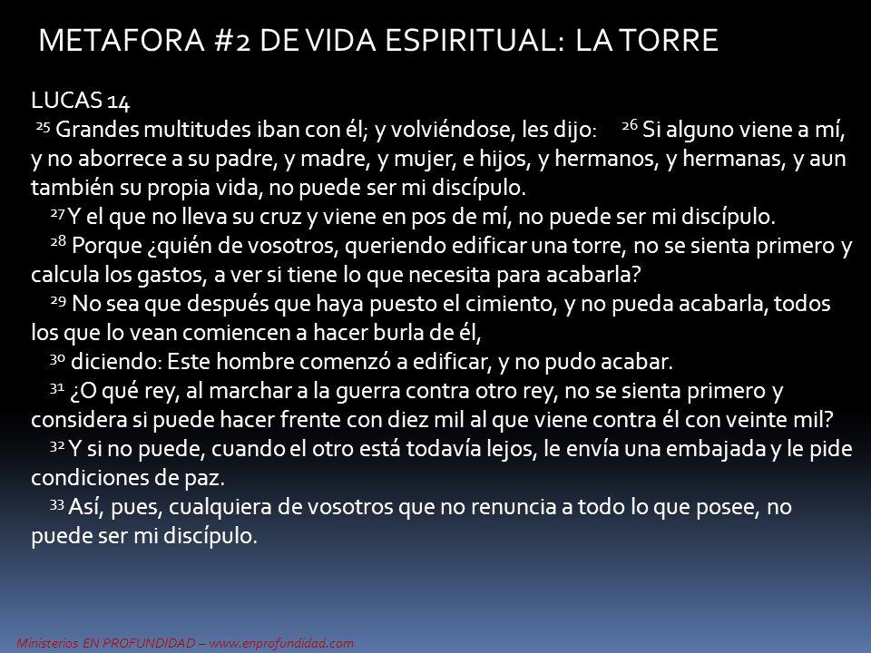 Ministerios EN PROFUNDIDAD – www.enprofundidad.com METAFORA #2 DE VIDA ESPIRITUAL: LA TORRE LUCAS 14 25 Grandes multitudes iban con él; y volviéndose,