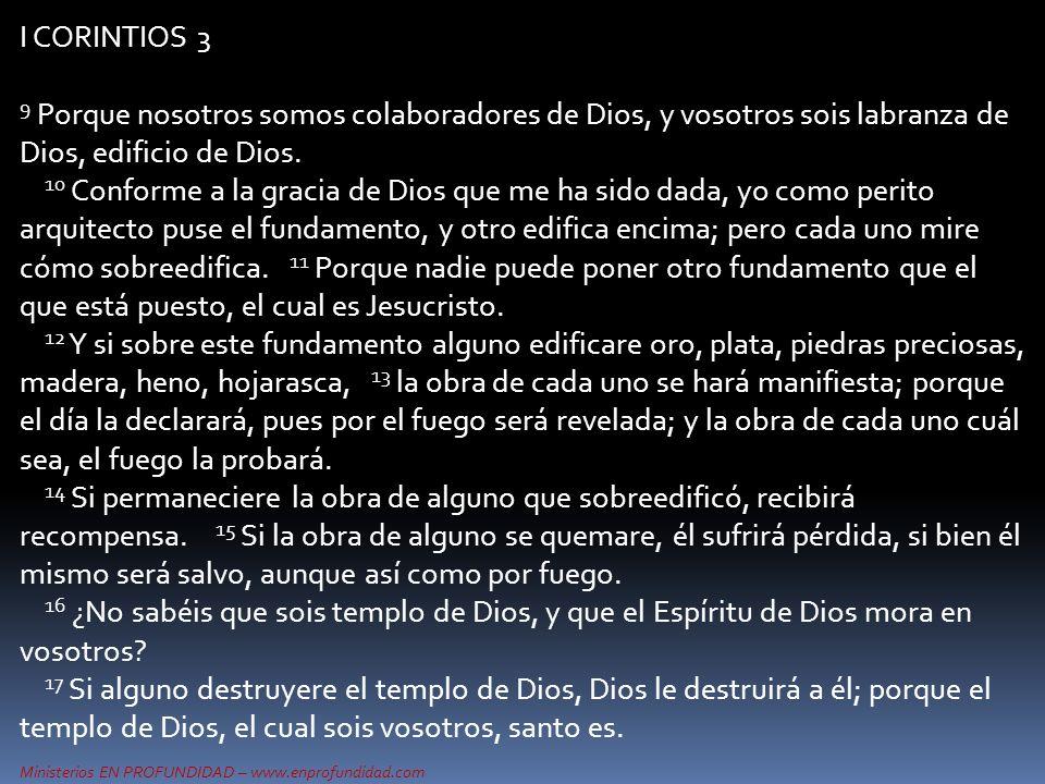 Ministerios EN PROFUNDIDAD – www.enprofundidad.com I CORINTIOS 3 9 Porque nosotros somos colaboradores de Dios, y vosotros sois labranza de Dios, edif