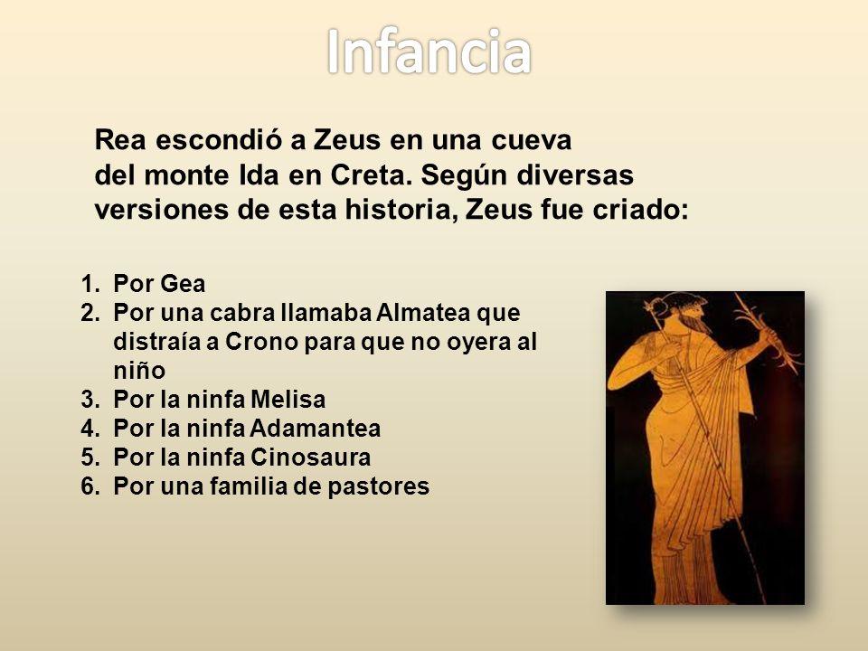 Rea escondió a Zeus en una cueva del monte Ida en Creta.