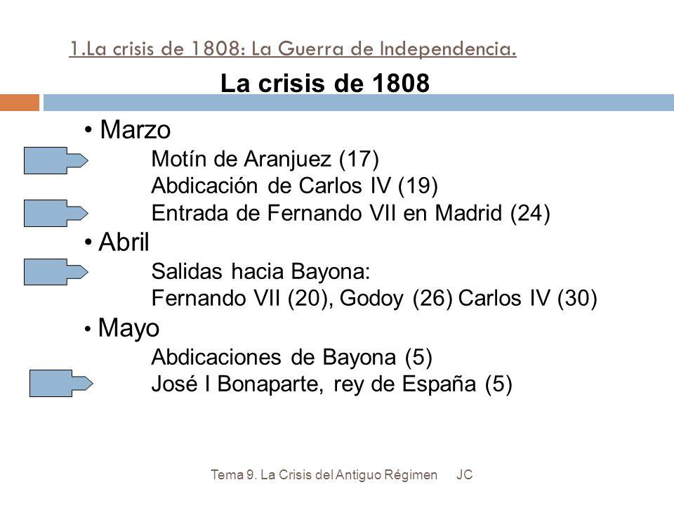 1.La crisis de 1808: La Guerra de Independencia. JCTema 9. La Crisis del Antiguo Régimen Marzo Motín de Aranjuez (17) Abdicación de Carlos IV (19) Ent