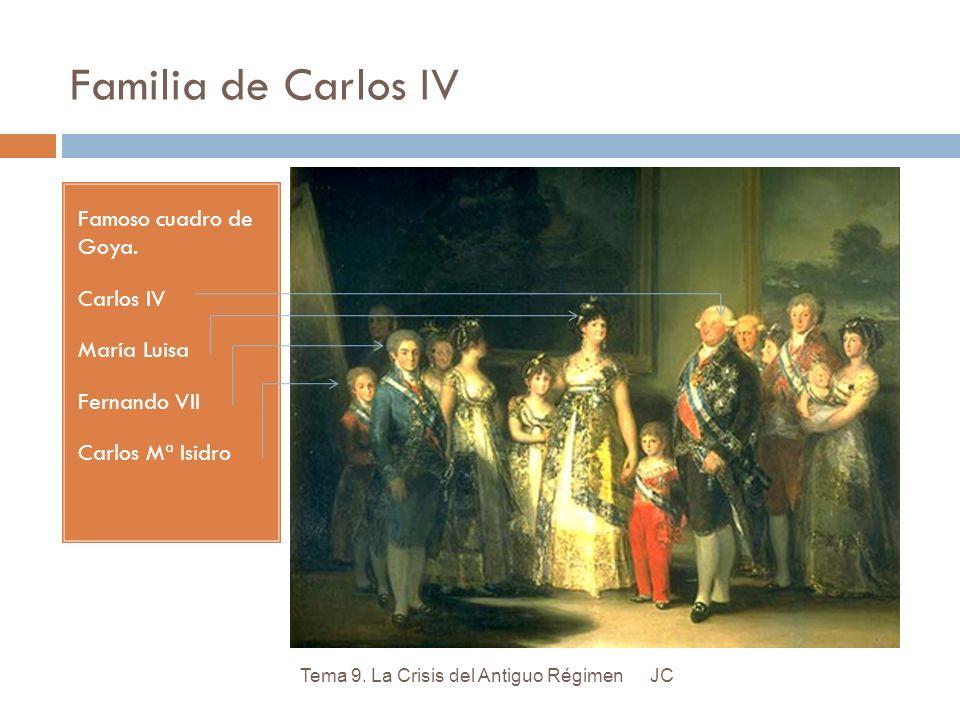 Familia de Carlos IV Famoso cuadro de Goya. Carlos IV María Luisa Fernando VII Carlos Mª Isidro JCTema 9. La Crisis del Antiguo Régimen