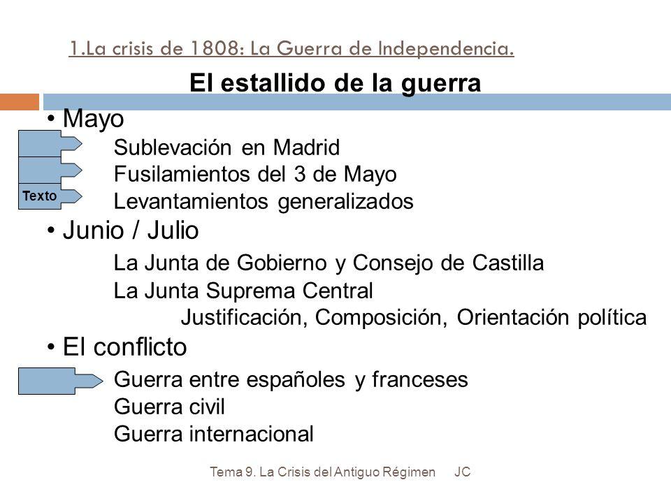 1.La crisis de 1808: La Guerra de Independencia. JCTema 9. La Crisis del Antiguo Régimen Mayo Sublevación en Madrid Fusilamientos del 3 de Mayo Levant