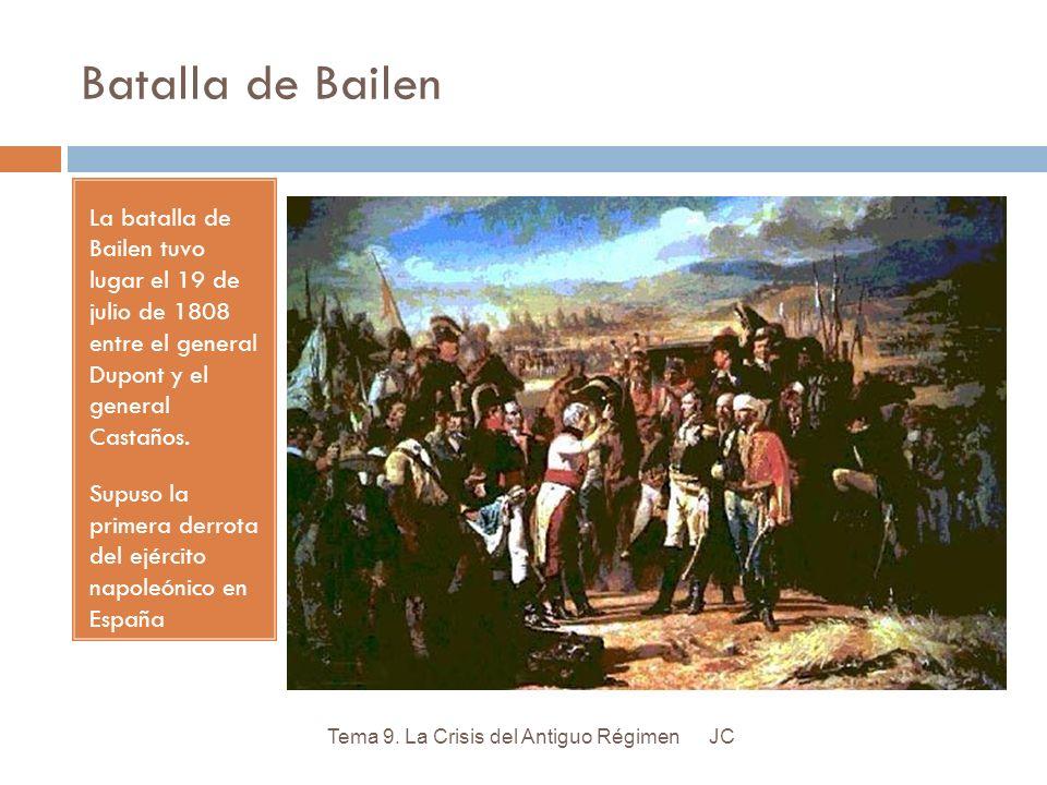 Batalla de Bailen La batalla de Bailen tuvo lugar el 19 de julio de 1808 entre el general Dupont y el general Castaños. Supuso la primera derrota del