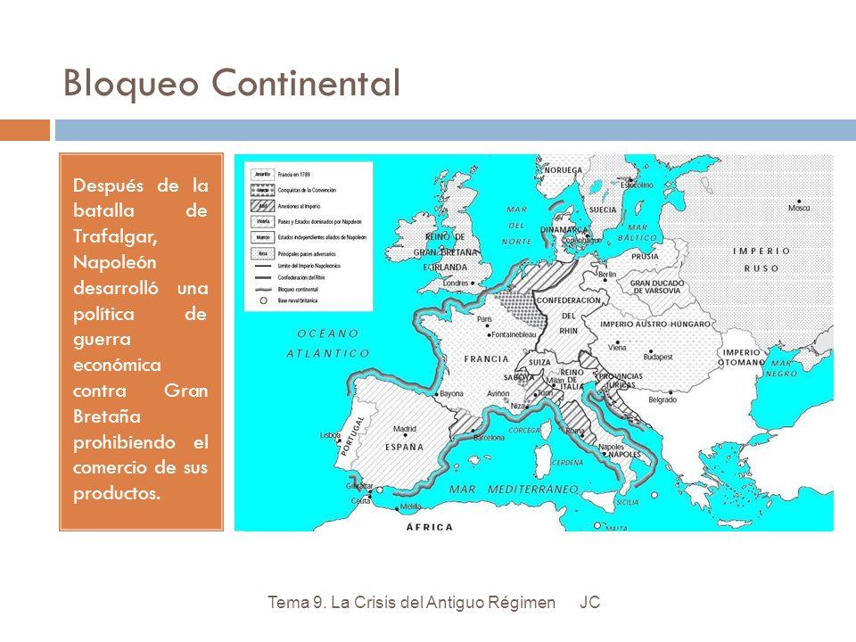 Bloqueo Continental Después de la batalla de Trafalgar, Napoleón desarrolló una política de guerra económica contra Gran Bretaña prohibiendo el comerc