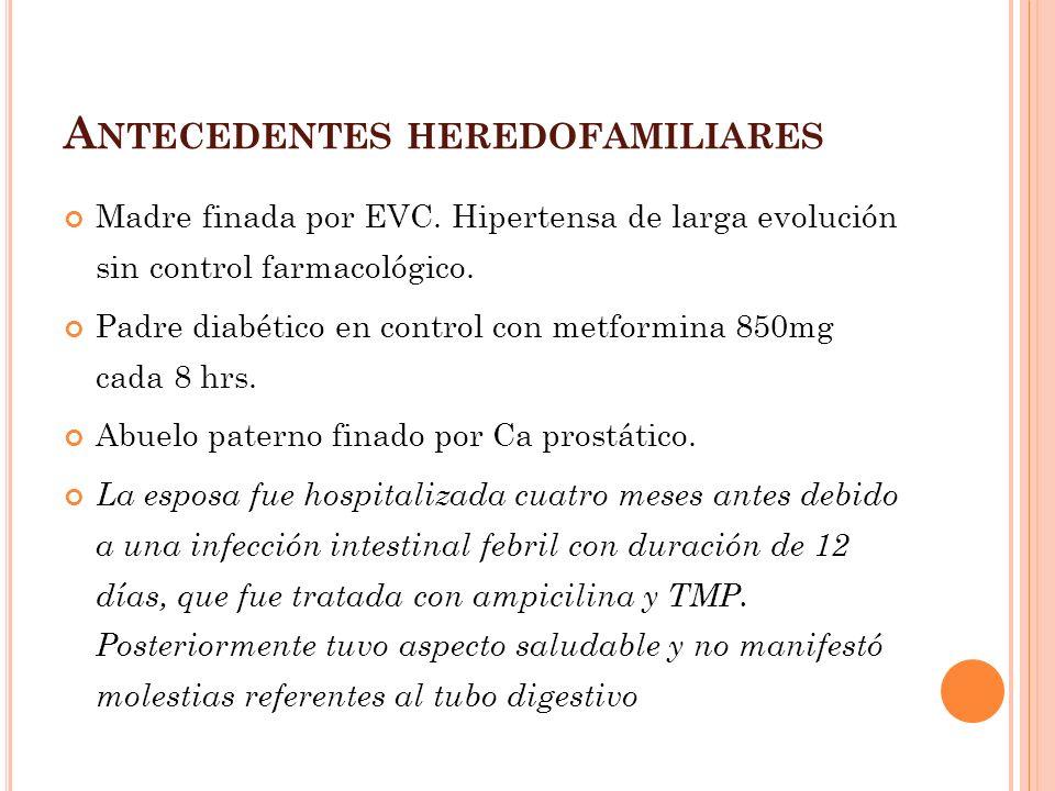 Diagnóstico 1 era semana2 da semana3era semana4ta semana Mielocultivo90% 81% Hemocultivo50 – 70 %20- 27 % 0-7 %0% Coprocultivo12 – 15 %45- 60 %25-60%27% Urocultivo3-5%30%0% 1era semana2da semana 3era semana4ta LeucocitosnormalleucopenialeucocitosisNormal o leucopenia Linfocitoslinfocitosis Aglutinación1/801/1601/320 SEROLOGÍA : Aglutinaciones(Widal),detecta Ac SEROLOGÍA : Aglutinaciones(Widal),detecta Ac aglutinantes vs Ag O y H.