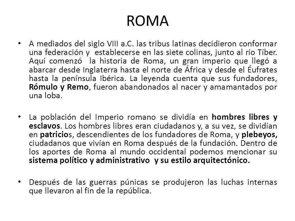ROMA A mediados del siglo VIII a.C. las tribus latinas decidieron conformar una federación y establecerse en las siete colinas, junto al río Tíber. Aq