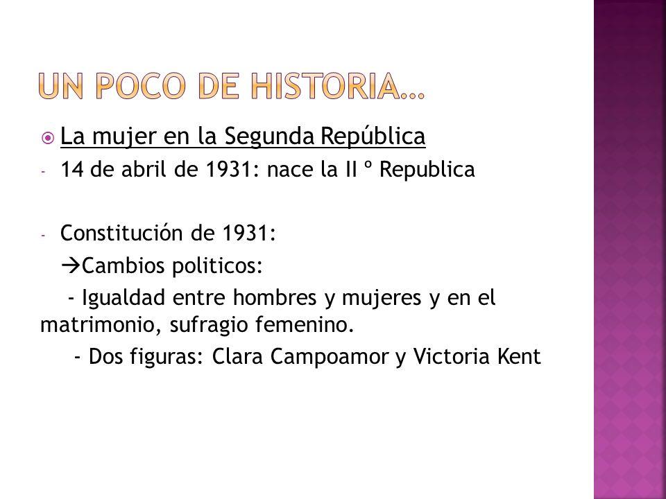 La mujer en la Segunda República - 14 de abril de 1931: nace la II º Republica - Constitución de 1931: Cambios politicos: - Igualdad entre hombres y m