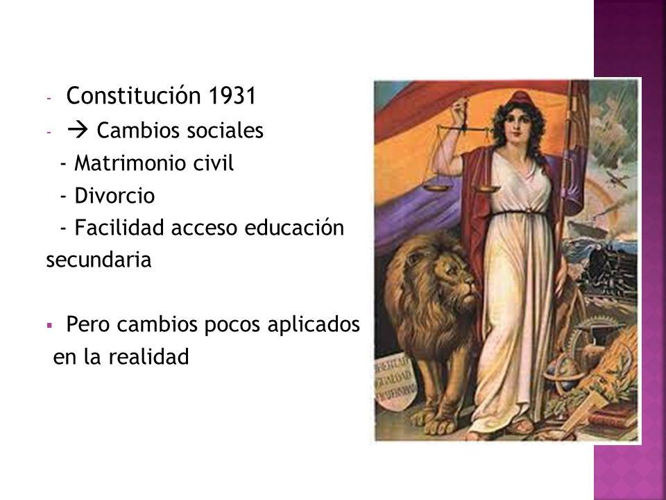 - Constitución 1931 - Cambios sociales - Matrimonio civil - Divorcio - Facilidad acceso educación secundaria Pero cambios pocos aplicados en la realid