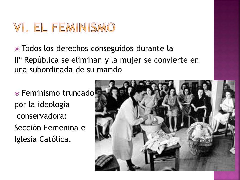 Todos los derechos conseguidos durante la IIº República se eliminan y la mujer se convierte en una subordinada de su marido Feminismo truncado por la