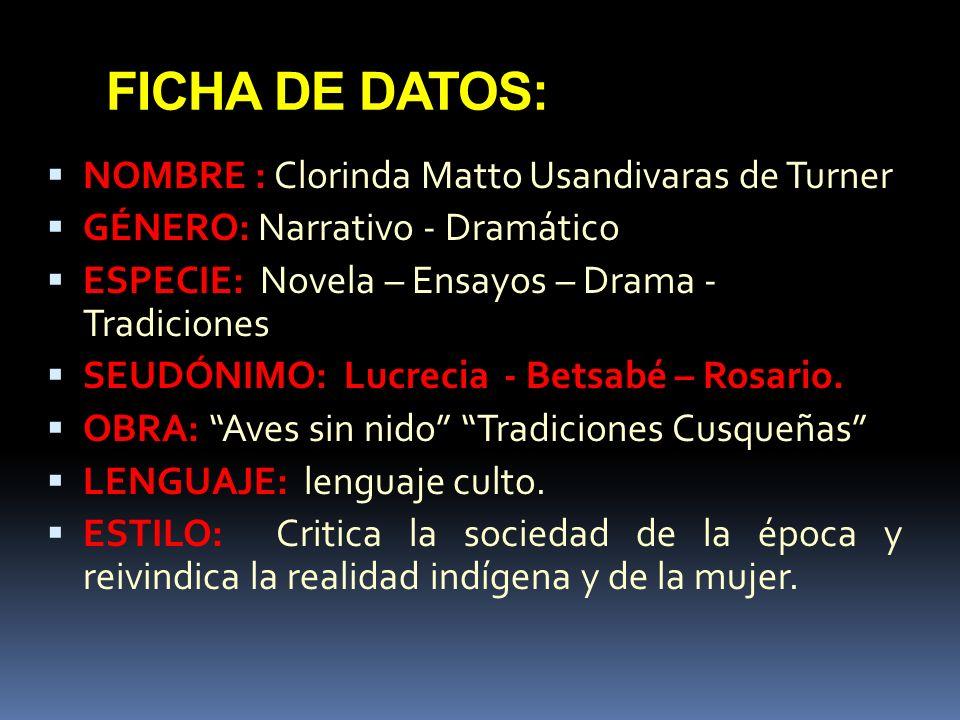 DATOS CURIOSOS: Nace: Cusco 11-9-1852.Hacienda Paullo Chico – Calca.